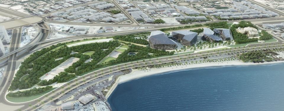 منظر من الجو لمركز الشيخ جابر الاحمد الثقافي